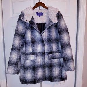 Madden Girl Plaid Fur Coat
